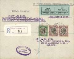 "(Tanganyika) Tanganyika Government Feeder Service, Dar es Salaam to Mombasa via Tanga and Zanzibar, F/F Dar es Salaam to Mombasa, bs 21/10, registered (label) Cota cover addressed to HQ, Kings African Rifles, franked 65c, nice strike oval blue 'Tanganyika Territory/Feeder Service' hs, typed endorsement ""First Air Mail/ Dar es Salaam-Zanzibar-Tanga-Mombassa/By Tanganyika Government Aeroplane"", blue green/black 'Par Avion/Tanganyika Territory' etiquette. Small mail."
