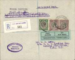 "(Tanganyika) Tanganyika Government Feeder Service, Dar es Salaam to Mombasa via Tanga and Zanzibar, F/F Dar es Salaam to Tanga, bs 21/10, registered (label) Cota cover addressed to HQ, Kings African Rifles, franked 65c, nice strike oval blue 'Tanganyika Territory/Feeder Service' hs, typed endorsement ""First Air Mail/ Dar es Salaam-Zanzibar-Tanga-Mombassa/By Tanganyika Government Aeroplane"", blue green/black 'Par Avion/Tanganyika Territory' etiquette. Small mail."