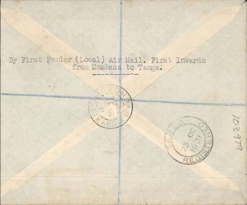 "(Tanganyika) Tanganyika Government Feeder Service, Dar es Salaam to Mombasa via Tanga and Zanzibar, F/F return Mombasa to Tanga, bs 23/10, registered (label) Cota cover, franked 65c,  typed endorsement ""First Air Mail/ Dar es Salaam-Zanzibar-Tanga-Mombassa/By Tanganyika Government Aeroplane"", typed 'Feeder Service to the Imperial (Africa) Airways'. Small mail."