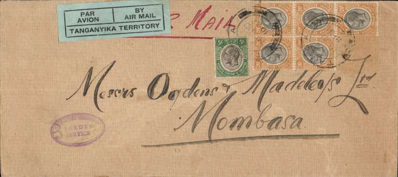 (Tanganyika) Scarce triple rate Tanga to Mombasa, legal cover, 21x10cm, embossed A&N Clark, Avocate, carried on the 4th flight of the Tanganyika Government's air mail service, triple franked 1S 05 (3x35c), green/black 'Par Avion/Tanganyika Territory etiquette, violet oval 'Tanganyika Government/Feeder Service' hs.