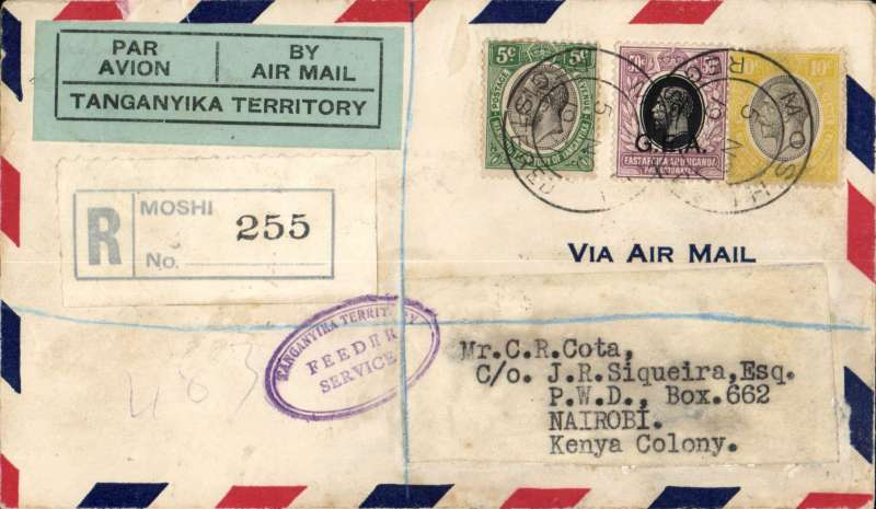 (Tanganyika) Moshi to Nairobi, bs 12/11, via Tanga 9/10, registered (label) airmail cover correctly franked 65c (35c postage air fee + 30c registration), green/black 'Par Avion/Tanganyika Territory etiquette, violet oval 'Tanganyika Government/Feeder Service' hs. Carried by rail to Tanga to catch air service to Mombasa, then train to Nairobi. A nice non philatelic item with great routing. You can track it in Wingent's Africa book.
