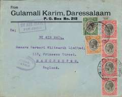 (Tanganyika) Dar es Salaam to England, 2/2 pencil arrival notation verso, carried on last Tanganyika Government  flight Dar es Salaam to Mombasa, then by Imperial Airways flight  AN46 from Kisumu to London, commercial cover correctly rated 85c (20c feeder service and 65 Kisumu to UK), violet oval 'Feeder Servce' and framed 'By Air Mail' hs's, seee Wingent's Africa handbook..
