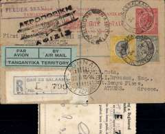 (Tanganyika) First flight of a postcard from East Africa at the reduced airmail rate, Dar es Salaam to Athens, bs 7/10, via Nairobi 24/9,  registered (label) Tanganyika 15c PSC with additional 60c stamps, canc Dar es Salaam 24/9, black Athens biplane arrival hs, green/black 'Par Avion/Tanganyika Territory' etiquette, black framed 'Feeder Service' hs, typed 'First Post Card Air Mail Service/Feeder Service', carried by WA coastal service to Nairobi, then joining IA flight AN81, see Wingent's Africa handbook, p31. Original Certificate of Posting attached.  A scarce item and definitely one for the exhibit.