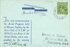 (Australia) Aero Club of New South Wales, Mascot Aerial Derby, blue souvenir card canc Mascot cds and signed by the winning pilot GM Reid, and the Society Secretary Ernest Crome.