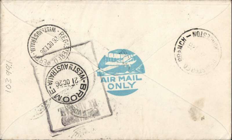 (Australia) Early Western Australia airmail cover, Broome to Tasmania, bs Launceston, via Perth 26/10, carried on the Broome to Perth leg, bs 12/10,  of the Perth - Daly Waters service,  immaculate hand painted cover franked 10d, black PMG rectangular cachet with Broome 21 Oct 26 cds in centre..