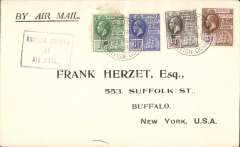 """(British Guiana) F/F FAM 6, Georgetown to Miami, no arrival ds, violet boxed """"British Guiana by Air Mail"""" cachet, bs 26/9 Pan Am, flown by Lindbergh."""