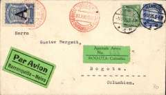 "(Germany) SCADTA ""Consular"" one cover system, Germany to Colombia, Hamburg to Bogota, bs 2/2/33. , via Barranquilla, 29/12 , where a 30c Scadta ""A"" 1923 '12mm' consular opt was affixed well clear of other adhesives and cancelled with fine strike red 'Servicio/Scatda/Barranquila/31.XII 1925. The cover was then forwarded to Bogota. A plain cover franked Germany 25pf tied dated Hamburg 5.12.25 cds, black/green ""Par Avion/Barranqulla-Neiva"" etiquette issued in Berlin for customers in Germany and rated rare by Mair. The one cover system used a single envelope which had to include the appropriated national surface rate. This saved SCADTA time and money as they no longer had to affix the national stamp. Super early item."