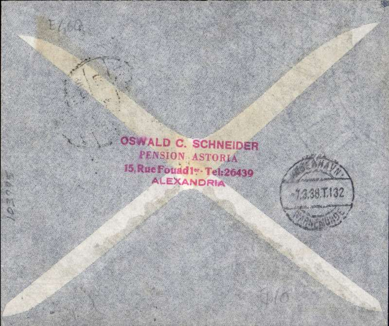 (Egypt) Alexandria to Copenhagen, bs 7/3, grey imprint airmail cover franked 50ml inc 22,4,6,7,8,and 9ml vals of 1933 air set