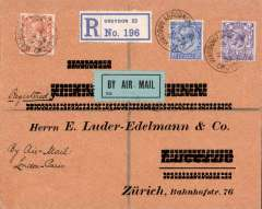(GB External) GB to Switzerland, Croydon to Zurich bs 30/6, via Paris, registered (label) cover franked 7 1/2d, canc Waddon Aerodrome/29 JU 23, ms 'By Air Mail', pale blue P25 airmail etiquette. Handley Page or Instone Air Line. A delightful early airmail to Europe with the added bonus of the prized Waddon Aerodrome cds.