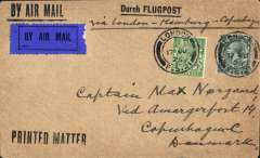"(GB External) London to Copenhagen, bs 18/6, buff cover franked 4 1/2d, canc London FS 21 cds, ms 'Via London-Hamburg-Copenhagen', fine strikes black 'By A ir Mail' and 'Durch Flugpost' hs's, dark blue/black P""$ airmail etiquette. The London-Berlin line was the recommended route to connect with the night train from Hamburg, and the air fee was only 3d per oz."