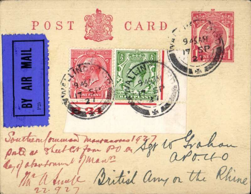 """(GB External) British Army of the Rhine (BAOR), Wallingford to Cologne, PSC addressed to an army sergeant based with BAOR at APO 40 based in Cologne, 1d PSC with additional 1 1/2d, dark blue/black airmail etiquette, also bearing ms note  """"Southern Forward Manoevres 1927/ **** ** cut from PO on/day of abandonmnet of ?manoevres"""" and signed by Smye 22.9.27. Interesting."""
