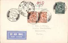 (GB External) London to Calcutta 6/5/31 arrival ds on front, carried on second Experimental Extension London-India to Australia,  PC franked 6d, canc London FS/Air Mail cds, airmail etiquette.