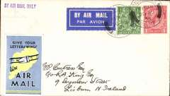 (GB Internal) RAS, London to Lisburn, N Ireland, no arrival ds, plain cover franked 1 1/2d canc London FS/Air Mail. tying airmail etiquette, violet st. line 'By ir Mail Only' hs, also plale blue/yellow 'Give Your Letter Wings' vignette on front.