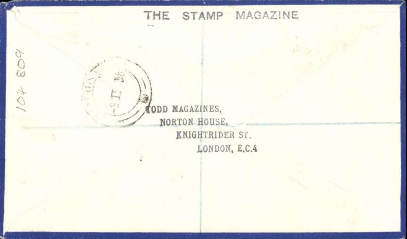(GB External) FDI GB 2d and 3d definitves on attractive Philatelic Magazine registered (label London EC 20) airmail cover, flown London to Transvaal, S. Africa, black framed 'First Day Cover' hs. Uncommon item in fine condition.