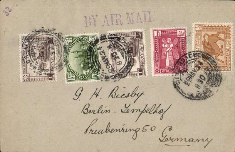 (Iraq) RAF desert air service, Baghdad to Germany, bs Berlin/11.6.24/Templehof cds, plain cover franked 6 annas, canc Baghdad cds, fine strike 'By Air Mail' hs. Flown to Cairo on the RAF desert air service, then by sea to Europe and surface to destination. Good example of 9/10 day accelerated transit time.
