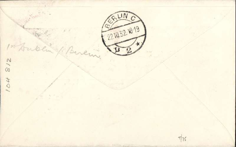 (Ireland) Special flight, Dublin to Berlin, green oval cachet, red Berlin C2 receiving cachet, bs 22/10, 1928 etiquette rated very scarce by Mair, printed souvenir cover.