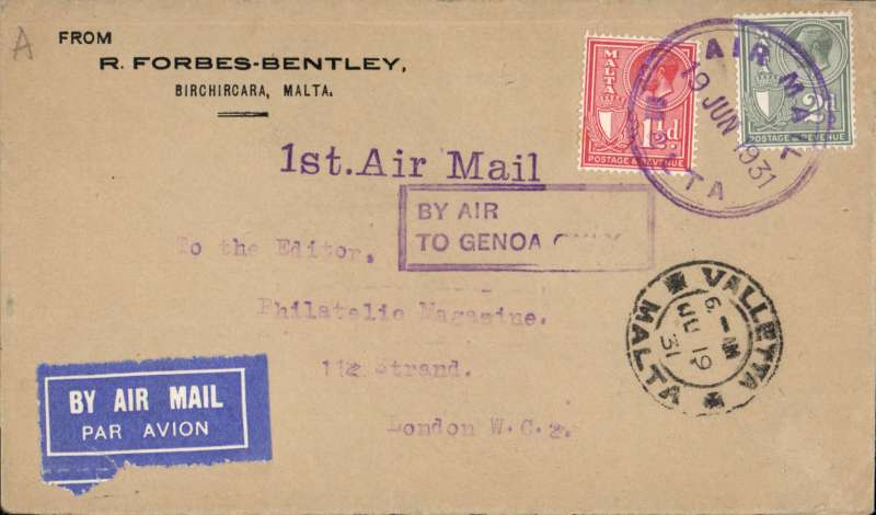 "(Malta) SANA/IAW, F/F Valetta-Genoa-London, b/s, violet ""1st Air Mail"" and boxed ""By Air/To Genoa Only"" cachets, franked 3 1/2d canc violet Air Mail/Malta cds. Only short notice of this flight was given, so only small numbers were flown."