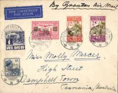 (Indonesia) Indonesia to Tasmania,  Laboean Hadji to Campbelltown, bs Launceston 20/4, via Melbourne transit cds, airmail etiquette cover franked 31 1/2c canc Laboean Hadji cds, ms 'By Qantas Air Mail' carried on Far East leg of England-Australia service. From scarce origin to uncommon destination.