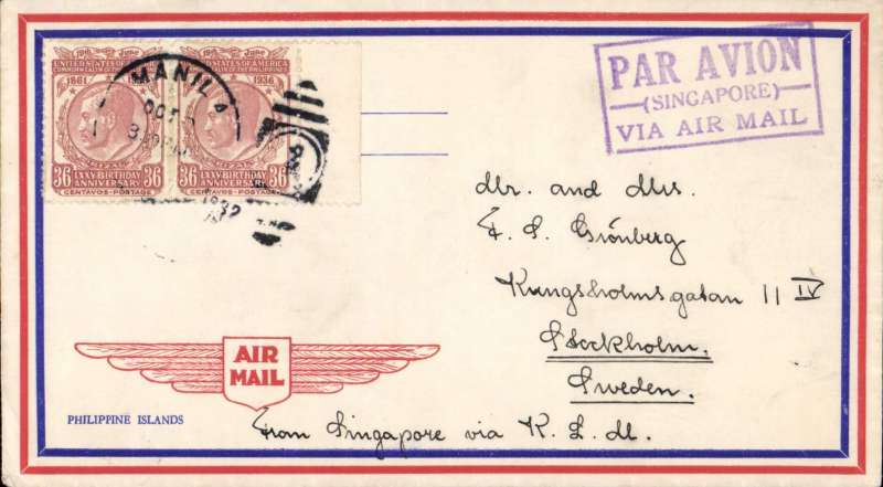 (Philippines) Early airmail Philippines to Sweden, Manila to Stockholm, attractive red/cream/blue airmail cover franked 36c x2, fine strike violet framed 'Par Avion/Singapore/Via Air Mail' directional hand stamp