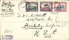 (South West Africa) SWA to USA, carried on SWWA Airways first provisional internal (Southern) service, Windhoek to Keetmanshoop, bs 12/8, then on to California, bs 12/9 via New York 8/9, airmail etiquette cover, franked 15d , canc Windhoek cds and small metal die Lugpos/Air Mail. Good routing.