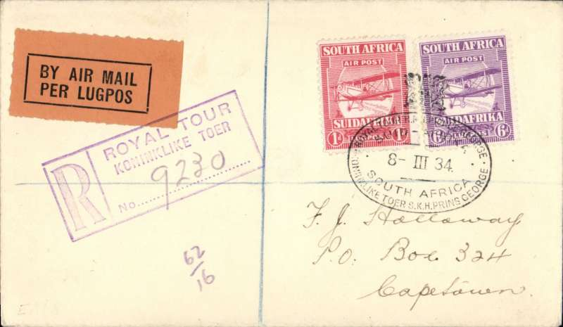 (South Africa) Royal Tour, HRH Prince George, carried from Royal Train to Cape Town, bs 9/3, registered Klondyke (hs) cover franked 7d canc special RT crested postmark tying black/orange airmail etiquette..