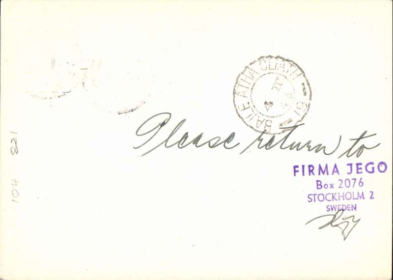 (Sweden) ABA F/F passenger and mail service, Stockholm to Dublin, bs 4/3, 20 ore PSC with additional 10 ore with very fine strike red triangular 'First Flight/Premier Vol/Forsta Flyg' cachet. Uncommon.