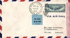 (United States) New York to Ireland, carried on the last Imperial Airways West to East service before the outbreak of WWII, New York to Foynes, bs 7/10, censored airmail cover sealed Ireland black/pink censor tape. An historic item.