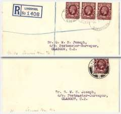 (GB Internal) RAS covers (2) commemorating the end of RAS Railex. A reg (label) cover Liverpool-Glasow franked 4 1/2d and an ordinary cover London-Glasgow, franked 1 1/2d both posted on 3/2/36, the last date before the termination of the RAS Railex service. Both addressed to the noted aviation collector, Dr G Joseph, Glasgow. The rules applying at that time stated that registered covers had to be sent by the fastest route, so it is likely that the registered cover was flown.Neither cover went by Railex.