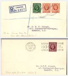 (GB Internal) RAS covers (2) commemorating the end of RAS Railex, a reg (label) cover Liverpool-Glasow franked 4 1/2d and posted on 3/2/36, the last date before the termination of the RAS Railex service, and an ordinary cover London-Glasgow, franked 1 1/2d and posted on 11/2/36 after the Railex service had ceased. Both addressed to the noted aviation collector, Dr G Joseph, Glasgow.