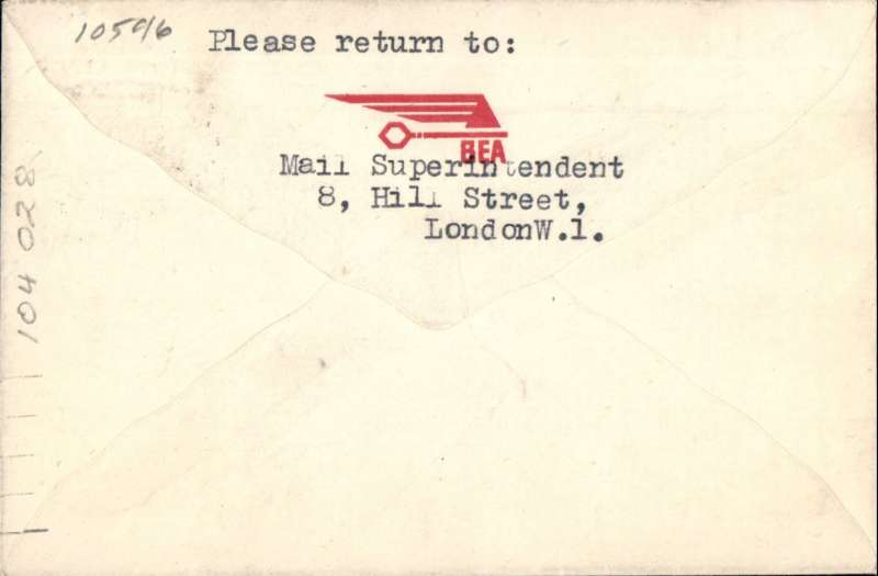 """(GB External) First Post War Resumption of """"All Up Mail"""" to Europe, London to Helsinki, franked 3d (first class mail without surcharge), official red """"winged/3d"""" cachet,  BEA."""