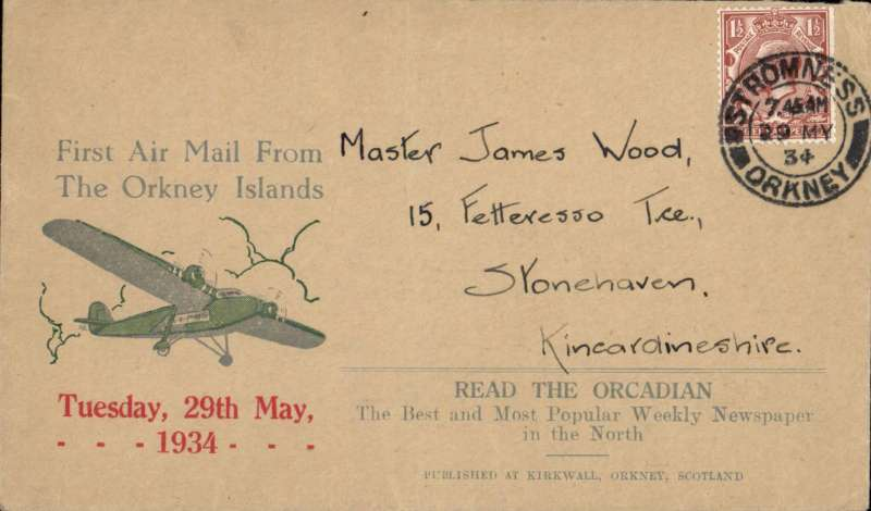 (GB Internal) Orcadian envelope Type 1 'First Air Mail From/the Orkney Islands' advertising envelope produced by the Orcadian Newspaper flown on the Highland Airways first flight from Kirkwall to Inverness, franked 1 1/2d, canc Stromness 7.45am/29 MY/1934. Image.