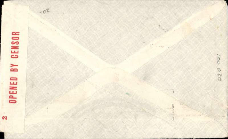 (Australia) Censored WWII airmail, Pacific Clipper services up to the attack on Pearl Harbour, Sydney to New York, imprint etiquette cover. correctly rated 4/- per 1/2oz for carriage to US, sealed red/white OBC Australia censor tape tied by two line 'Passed By Censor/S83' censor mark, black 'California Clipper' hs. Flown by Pan Am FAM19 to San Francisco, then US internal air service to destination. The Pacific Clipper service ceased after the Japanese attack on Pearl Harbour on 11/12/41.