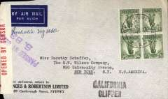 (World War II) Censored WWII airmail, Pacific Clipper services up to the attack on Pearl Harbour, Sydney to New York, imprint etiquette cover. franked 4 x1/- Lyre bird, correctly rated 4/- per 1/2oz for carriage to US, violet diamond Australia 1103 censor mark, black 'California Clipper' hs. Flown by Pan Am FAM19 to San Francisco, then US internal air service to destination. The Pacific Clipper service ceased after the Japanese attack on Pearl Harbour on 11/12/41.