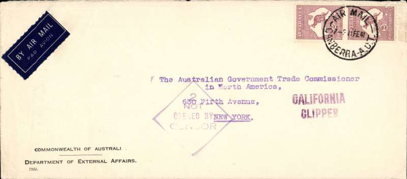 (Australia) Wartime airmail, Pacific Clipper services up to the attack on Pearl Harbour Canberra-New York, uncensored Intergovernmental cover franked 4/-, Australian violet diamond '2/NOT/OPENED BY/CENSOR'. Correctly rated 4/- per 1/2oz for carriage to US,  flown by Pan Am FAM19 to San Francisco, then US internal air service to destination. The Pacific Clipper service ceased after the Japanese attack on Pearl Harbour on 11/12/41.