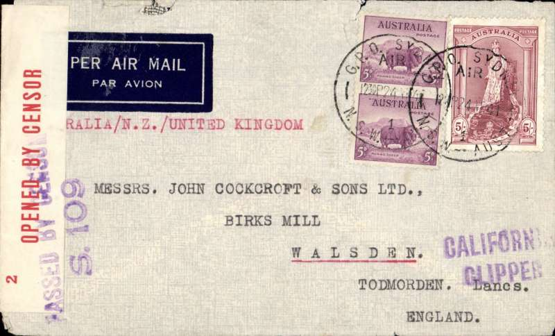 "(Australia) Wartime airmail, Pacific Clipper services up to the attack on Pearl Harbour, the 'air all the way' trans Pacific and trans Atlantic clipper service, Sydney to London, imprint etiquette airmail cover franked 5/10d, typed ""Aus-NZ-UK Air Mail"", sealed red/white Australian OBC censor tape tied by violet  two line 'Passed By Censor/S.109' hs, violet 'California Clipper' hs. Correctly rated 5/10 for the two ocean clipper service to the UK, carried by TEAL to New Zealand, Pan Am FAM19 to San Francisco, then US internal air service to link with Pan Am FAM18 trans Atlantic service to Lisbon. This service opened on 3/7/40 when Italy entered the war on June 10th 1940 and closed Mediterranean section of the long established Empire (Kangaroo) route through Europe and across the Indian Ocean. The Pacific Clipper service ceased after the Japanese attack on Pearl Harbour on 11/12/41. An attractive and important item in the study of wartime airmails."