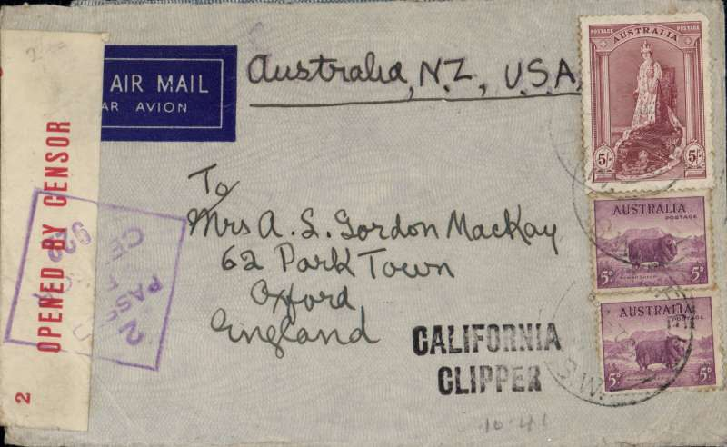 """(Australia) Wartime airmail, Pacific Clipper services up to the attack on Pearl Harbour, the 'air all the way' trans Pacfic and trans Atlantic clipper service, Sydney to London, imprint etiquette airmail cover franked 5/10d, typed """"Aus-NZ-UK Air Mail"""", sealed red/white Australian OBC censor tape tied by violet  diamond '2/PASSED/BY/CENSOR/922' hs, violet 'California Clipper' hs, also slip from censor re absent enclosure, see Image. Correctly rated 5/10 for the two ocean clipper service to the UK, carried by TEAL to New Zealand, Pan Am FAM19 to San Francisco, then US internal air service to link with Pan Am FAM18 trans Atlantic service to Lisbon. This service opened on 3/7/40 when Italy entered the war on June 10th 1940 and closed Mediterranean section of the long established Empire (Kangaroo) route through Europe and across the Indian Ocean. The Pacific Clipper service ceased after the Japanese attack on Pearl Harbour on 11/12/41. An attractive and important item in the study of wartime airmails."""