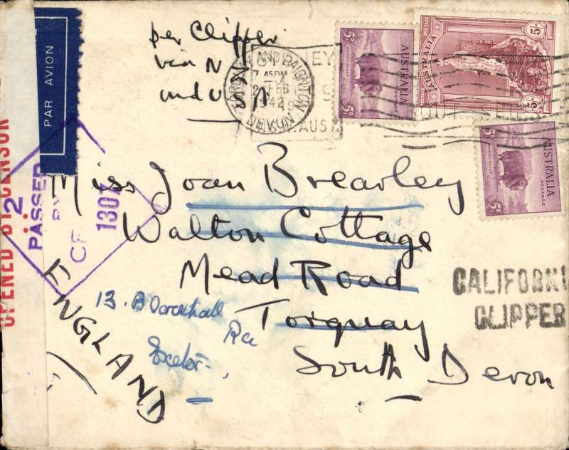 """(Australia) Wartime airmail, Pacific Clipper services up to the attack on Pearl Harbour, the 'air all the way' trans Pacific and trans Atlantic clipper service, Sydney to London, imprint etiquette 'Semper Integro' logo cover franked 5/10d, typed """"Aus-NZ-UK Air Mail"""", sealed red/white Australian OBC censor tape tied by violet  two line 'Passed By Censor/S.109' hs, violet 'California Clipper' hs. Correctly rated 5/10 for the two ocean clipper service to the UK, carried by TEAL to New Zealand, Pan Am FAM19 to San Francisco, then US internal air service to link with Pan Am FAM18 trans Atlantic service to Lisbon. This service opened on 3/7/40 when Italy entered the war on June 10th 1940 and closed Mediterranean section of the long established Empire (Kangaroo) route through Europe and across the Indian Ocean. The Pacific Clipper service ceased after the Japanese attack on Pearl Harbour on 11/12/41. An attractive and important item in the study of wartime airmails."""