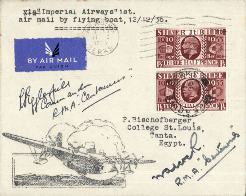 (Flying Boats) First airmail by flying boat, GB to Egypt, SOUTHAMPTON-ALEXANDRIA, bs 15/12, carried all the way by 'Centaurus' via Marseilles and Athens on IMPERIAL AIRWAYS eastbound service IE505 and SIGNED BY JOINT COMMANDERS  CAPTAINS  I.A.EGGLESFIELD AND E.S.ALCOCK. Tied airmail etiquette cover, typed  franked 3d with large 'Flying Boat' hs addressed to Tanta 130km SE Alexandria, bs 16/12. Also fine unused B&W photocard showing Centaurus G-ADUT on water, and six press cuttings (C300 words total) including 3x3cm head and shoulders pictures of both captains. Superb lot in fine condition.