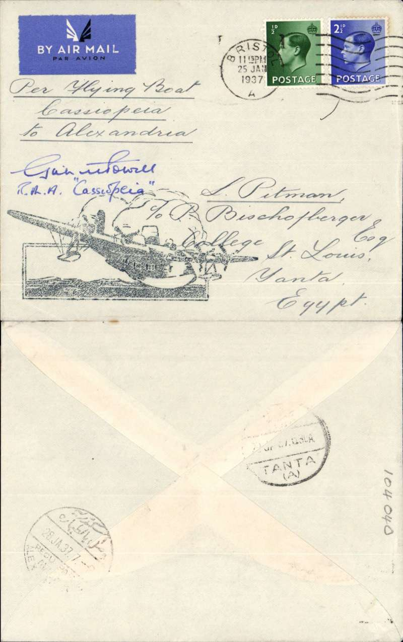 (Flying Boats) FIRST EXPERIMENTAL FLIGHT SOUTHAMPTON TO ALEXANDRIA, bs 28/1, and MAIDEN SERVICE FLIGHT BY 'CASSIOPEIA', on IAW southbound service AS 417, plain cover correctly rated 3d , large black flying boat cachet, ms 'Per Flying Boat 'Cassiopeia to Alexandria',  SIGNED BY PILOT  Capt. Griffith Powell. Also a superb original and unused B&W Tuck's photo card, and two informative newspaper cuttings and a head and shoulders picture of Capt. Powell.  A super flying boat item in fine condition.