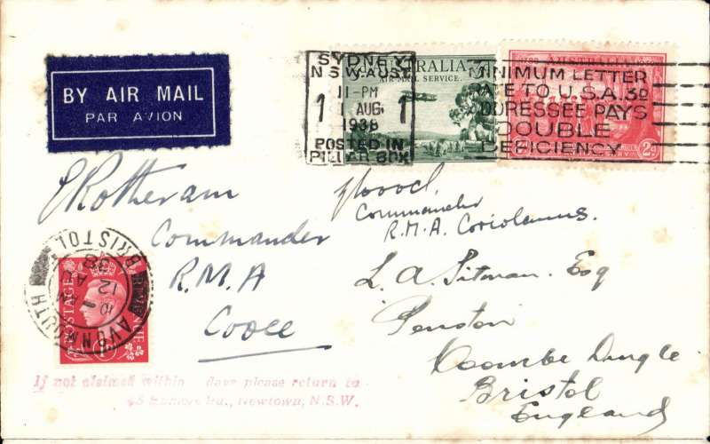 """(Australia) First 5d Air Mail from Australia under the Empire Air Mail Scheme which came in to effect on 1/8/1938 with the Australian rate fixed at 5d per 1/2oz. Carried all the way from Darwin by FLYING BOAT on  IMPERIAL AIRWAYS WESTBOUND service IW676E. Cover posted Sydney 1/8/1938 to London 12/8 arrival ds on front, via Singapore, Rangoon, Gwalior, Dubai.  Alex and Southampton. Airmail etiquette cover correctly rated 5d, signed by """"E. Rotherham, Commander, RMA Cooee"""" and  """"? A Koch, Commander RMA Coriolanus"""".  Also  original unused Tuck's B&W PPC of 'Coriolanus G-AETY' in flight. SCARCE item, few tiny faint tone spots otherwise fine, see scan."""