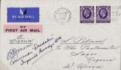 (GB External) PILOT SIGNED 'DAEDELUS',  UK To Nigeria, LONDON TO LAGOS by Imperial Airways Africa AS317 southbound service by Heracles to Athens arriving 2 days late, then by Satyrus to Cairo (2 days late) and Hengist to Khartoum (4days late) where it was carried by DAEDALUS on the F/F IAW West Africa feeder service to KANO (2 days late), and then by surface to Lagos bs 19/2.Also five related newspaper clippings inc picture of pilot. Scarce item in fine condition.