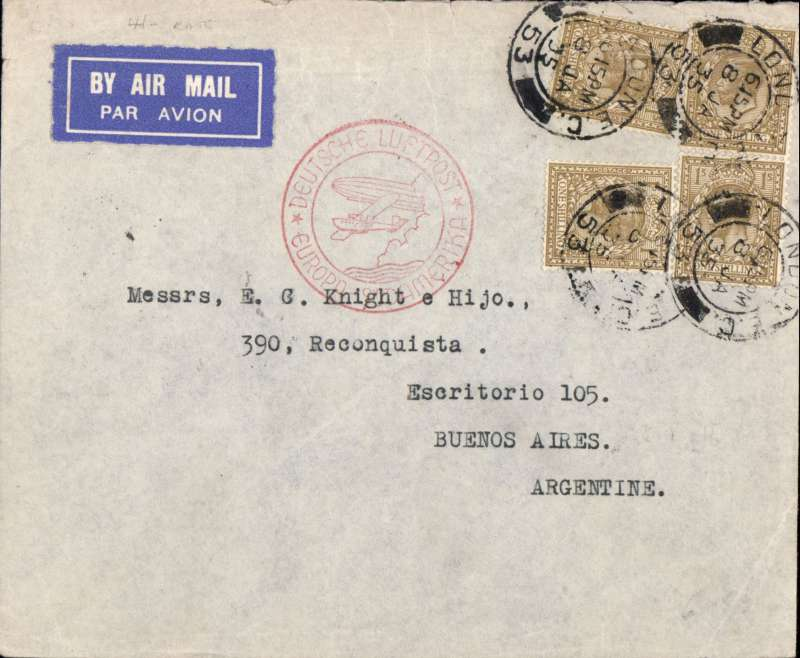 "(GB External) Cover flown by German air service London to Buenos Aires, bs 18/1, via Berlin 11/1, airmail etiquette cover franked GB 4x 1/--, nice  red ""Deutch Luftpost Europa Sud America"" cachet. Image."