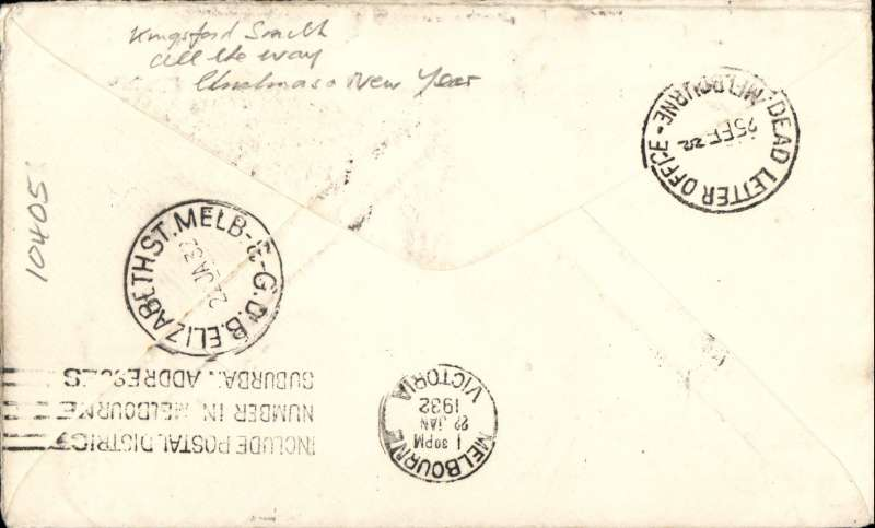 """(GB External) Kingsford Smith's return flight, England to Australia,"""" All the Way"""" Christmas and New Year flight, London to Melbourne, bs 22/1/32, plain airmail etiquette cover, correctly rated 1/4d, canc London FS/Air Mail cds. Image."""