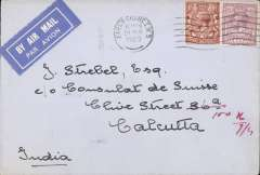 (GB External) Imperial Airways, non philatelic airmail, London to Calcutta, bs 9/4, carried on F/F Croydon to Karachi, plain cover correctly franked 6d & 1 1/2d. Image.