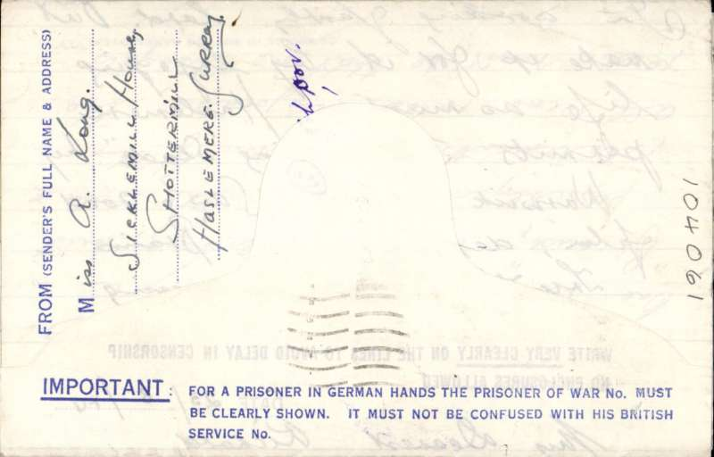 """(GB External) British Prisoner of War Post/Kriegsgefangenenpost/Service des Prisonniers de Guerre, franked imprint 2 1/2d KGVI airmail letter sheet sent  to an aircrew sargeant in the RAF at Stalag Luft 1 via Stalag Luft 3,  blue tablet """"Air Mail/Par Avion"""", with important warning about the POW number, blue/white,  bottom flap,violet framed German 'Gepruft/114' and British red heaxagonal censor marks. Image."""