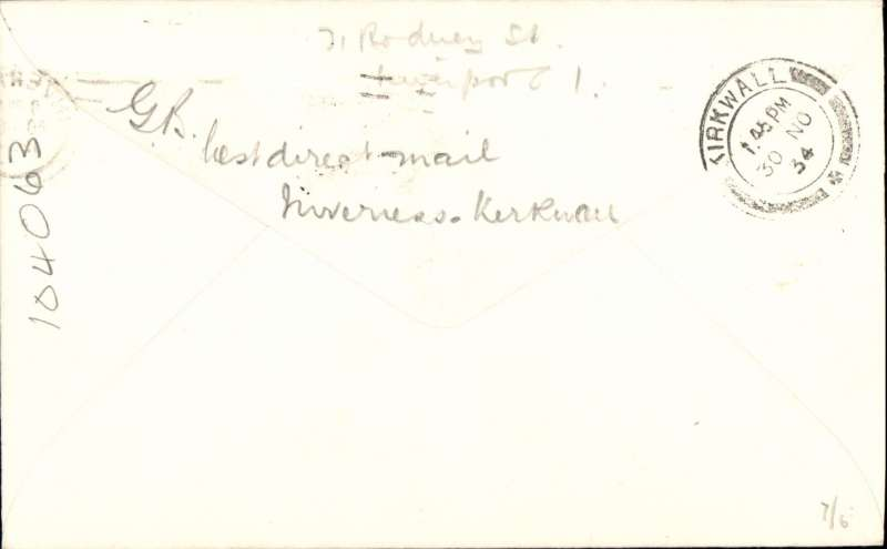 (GB Internal) Rare Highland AW last flight of the Inverness-Kirkwall experimental service which opened 29/5/34. On the 1/12/34 the service was put on a permanent basis, see Beith p8. Plain cover franked 1 1/2d, canc Inverness cds, bs Kirkwall 30/11, typed 'Inverness-Kirkwall/Nov 30, 1934/Last Day of old contract'.. Image.