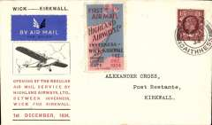 """(GB Internal) Highland Airways F/F Kirkwall to Wick, b/s, Cross cover franked 11/2d with special red/blue vignette. """"Covers bearing the vignette are considerably less common than plain covers"""" see Redgrove, p43. Image."""