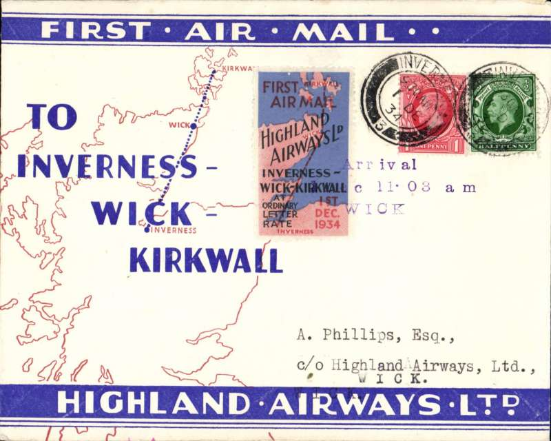 (GB Internal) Highland Airways F/F Inverness to Wick, official three line arrival date stamp tying special special red/blue vignette,  red/blue/ivory company envelope printed specially for this flight showing outline map North of Scotland and  map of route, franked 1 1/2d, canc Wick/1pm/1 Dec 34 cds, Around 125 of these company covers with the special vignette were carried on this flight, which also meets Redgrave's criteria for a flown cover, see p43. Image.