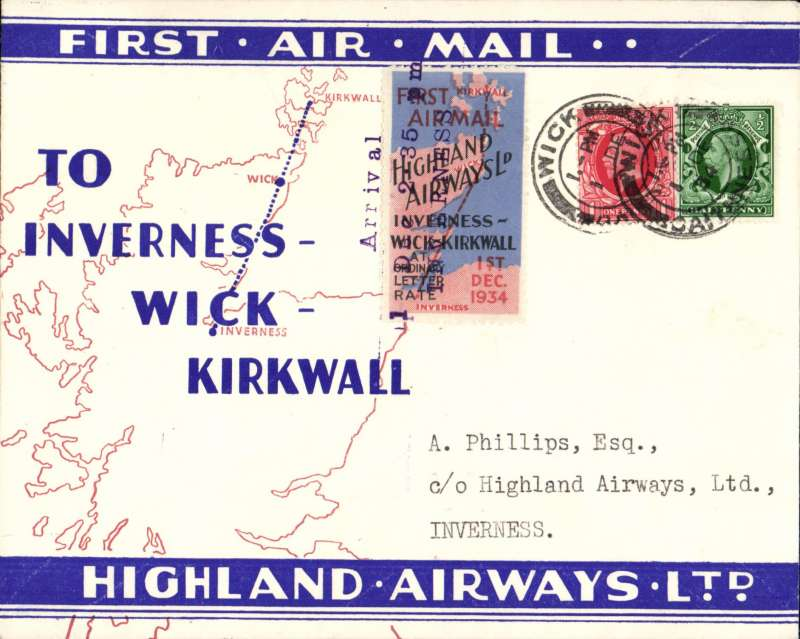 (GB Internal) Highland Airways F/F Wick to Inverness, official three line arrival date stamp tying special special red/blue vignette, red/blue/ivory company envelope printed specially for this flight showing outline map North of Scotland and  map of route, franked 1 1/2d,  Around 125 of these company covers with the special vignette were carried on this flight, which also meets Redgrave's criteria for a flown cover, see p43. Image.