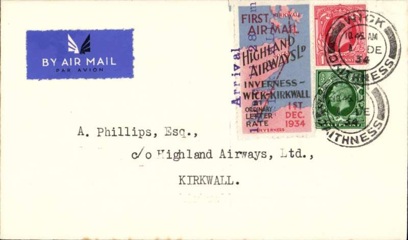 (GB Internal) Highland Airways F/F Wick to Kirkwall, three line arrival confirmation date stamp and departure post mark both tying special red/blue vignette, plain cover franked 1 1/2d, canc Wick cds. Most unusual for vignette to be cancelled by depart and arrival marks. Image.